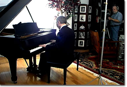 picture of Martin videotapingMichael during Piano shoot March, 2005