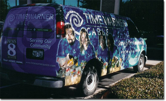 picture of Ken's phot on the Time Warner Food Drive van