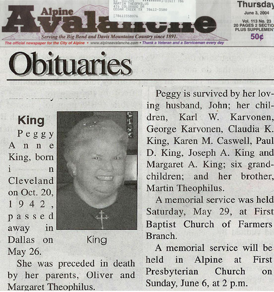 picture of Peggy's obituary in Alpine Avalanche