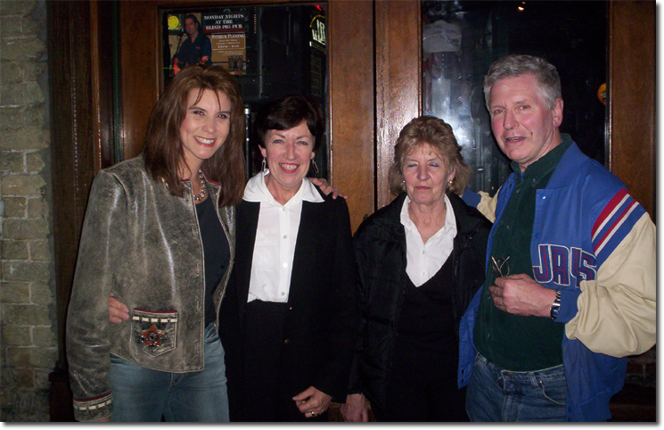 picture of Tracie Lynn, Chris, Chris' sister Sheila and friend Michael at the Blind Pig on Austin's 6th Street