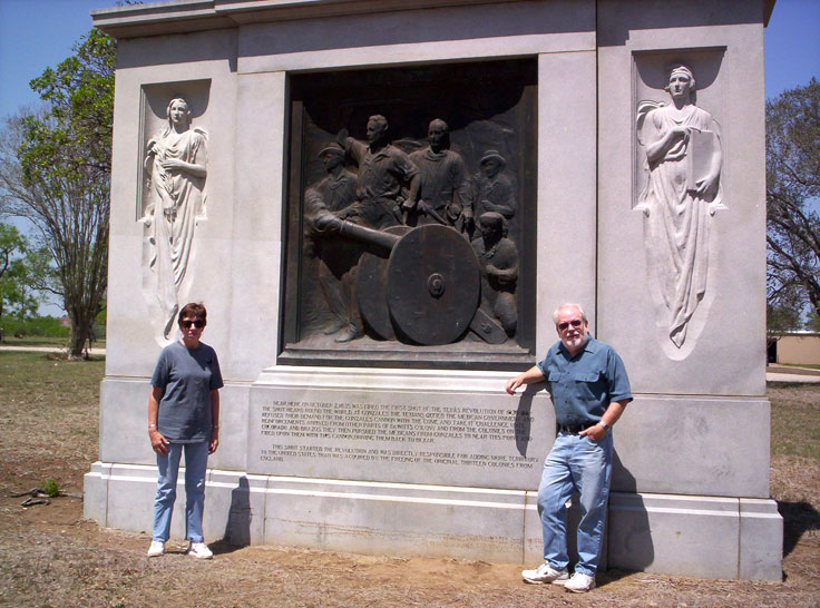 Chris & Martin at Texas Indepence monument, Gonzales, Texas