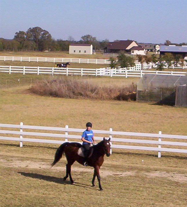 Chris riding Dancer as she and Dominique head ourt to ride November 25, 2006