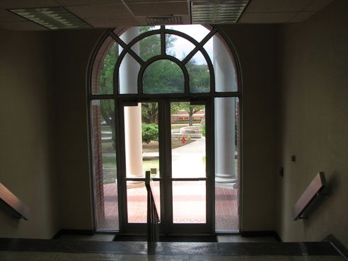 Sul Ross State University Fine Arts Building front entrance from inside