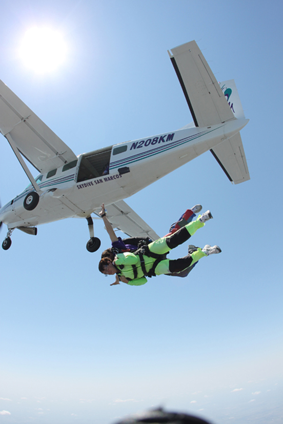 Chris skydiving in San Marcos