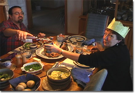 picture of Ken & Chris at Christmas dinner table