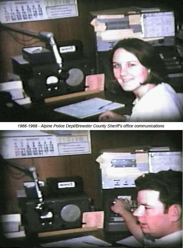 Carol and Martin working as police dispatchers for the City of Alpine/Brewster County Sheriff's Dept 1966-1968