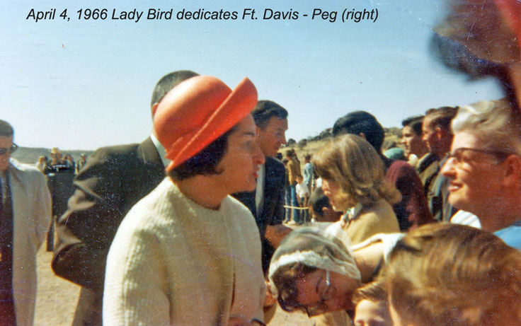 Mom at Fort Davis dedication talking to Lady Bird Johnson