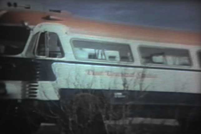 Universal Studios bus in Shafter, Texas during shoot of the movie Andromeda Strain
