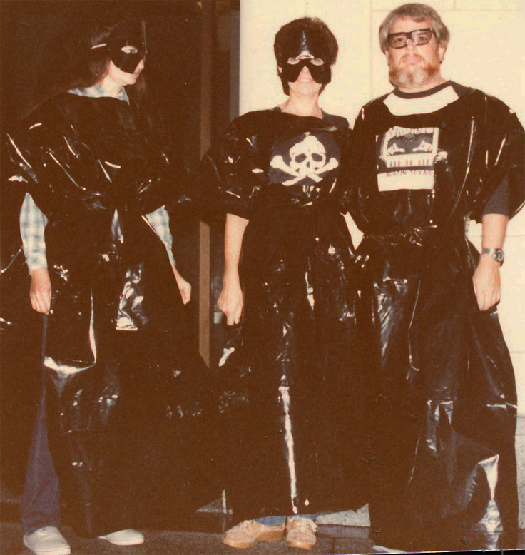 "Mary Ann TAylor, Chris & Martin as ""White Trash"" going to Austin's 6th Street on Halloween 1984"