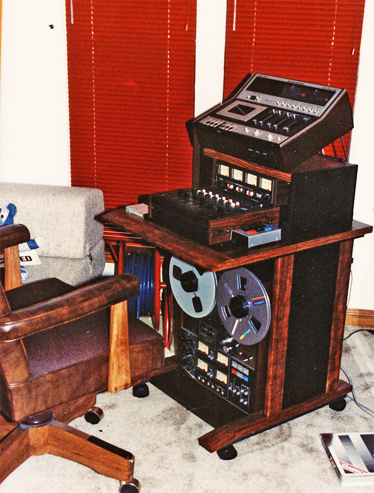 Phantom's Teac A-3340, Model 2 mixer with the MB-20 meter bridge and the Marantz 5420 cassette deck used for on-location recording and in this studio session with HouseWives Choice