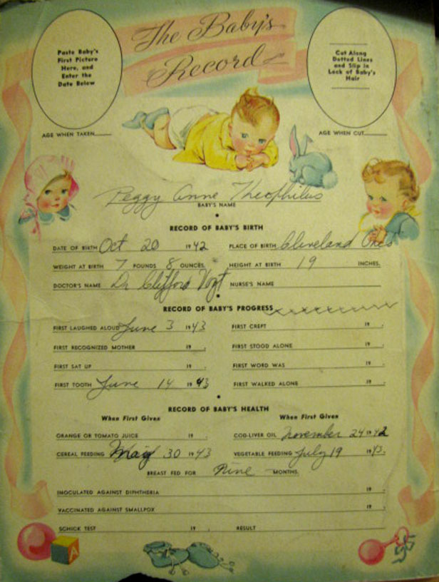 Peggy Anne's birth record, October 20, 1942