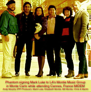 Martin & Chris sign Mark Luke to publishing contract with Montie Music Group at the Lowes Hotel in Montie Carlo
