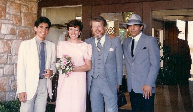 picture of Anthony, Chris, Martin and Ken at wedding June 1, 1985